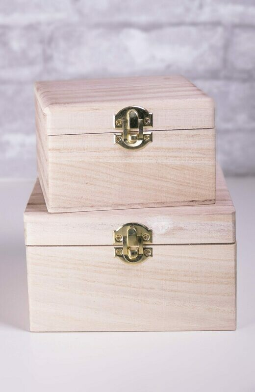 Nesting Wood Boxes With Hinges. Set of Two.