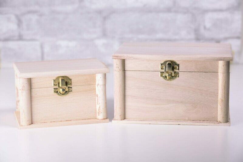 Nesting Wood Boxes With Hinges. Recessed Panels Set of Two