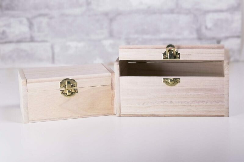 Nesting Wood Boxes With Hinges. Rectangle With Rounded Corners (2)