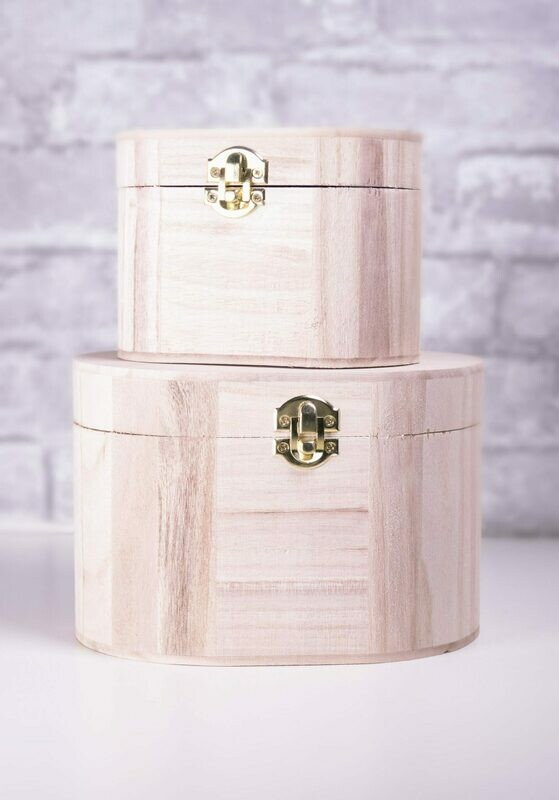Nesting Wood Boxes With Hinges. Oval Set of Two.