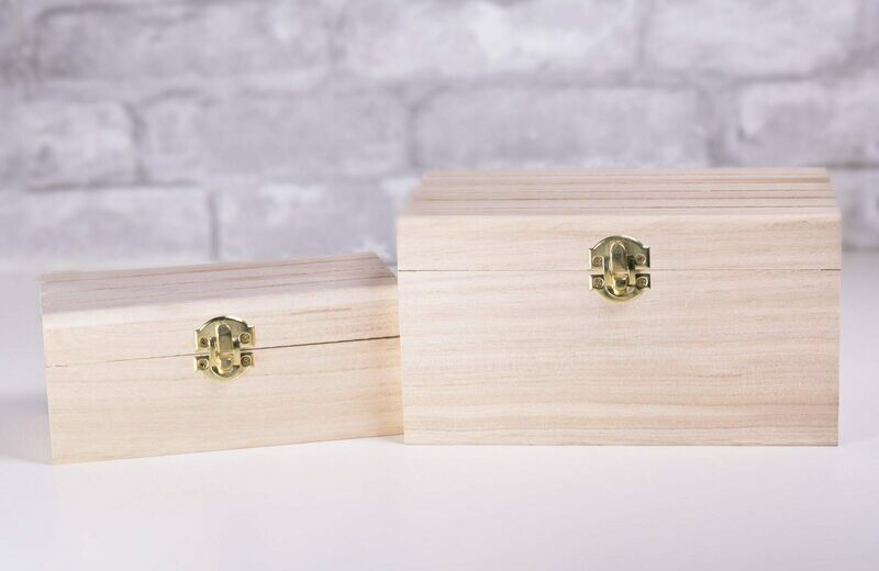 Nesting Wood Boxes With Hinges. Grooved Top Set of Two