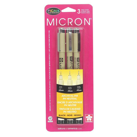 Micron Pigma Pen 3 pc. set 01(.25mm), 03(.35mm), 05(.45mm)
