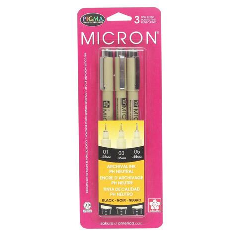 Micron Pigma Pen 3 pc. set 01(.25mm), 03(.35mm), 05(.45mm)