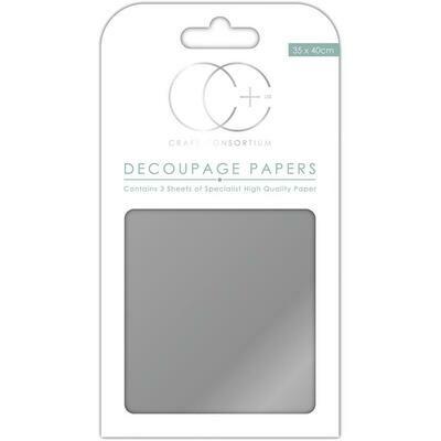 Metallic Silver Decoupage Paper 3 sheets