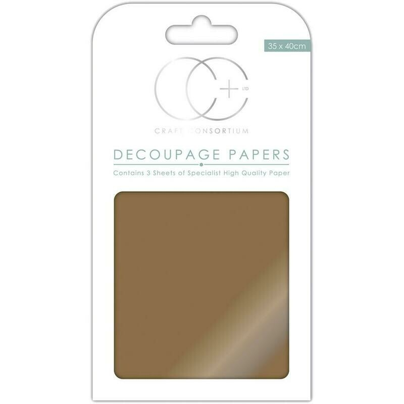 Metallic Antique Gold Decoupage Paper 3 sheets