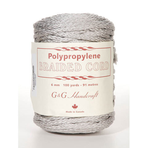 Macrame Polypropylene Braided Cord 6mm 100 yard- 91 meters - Silver Grey