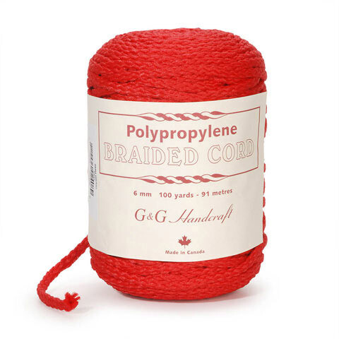 Macrame Polypropylene Braided Cord 6mm 100 yards- 91 meters- Red