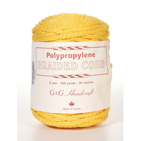 Macrame Polypropylene Braided Cord 6mm 100 yard- 91 meters- Sunshine Yellow