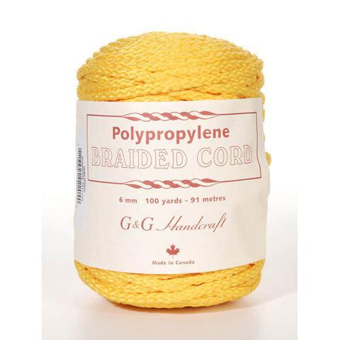 Macrame Polypropylene Braided Cord 6mm 100 yard- 91 meters- Sunshine Yellow