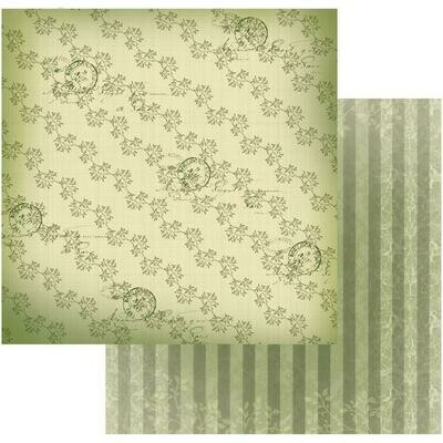 Line of Leaves- Vintage Rose Garden- double sided paper 12 x 12