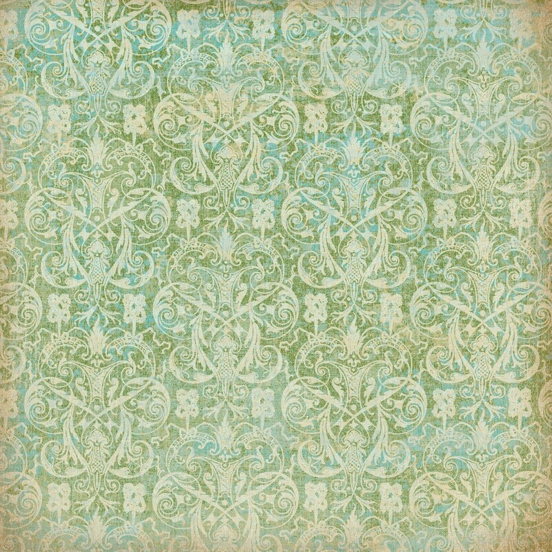 Blue and Green Damask Paper 12 x 12
