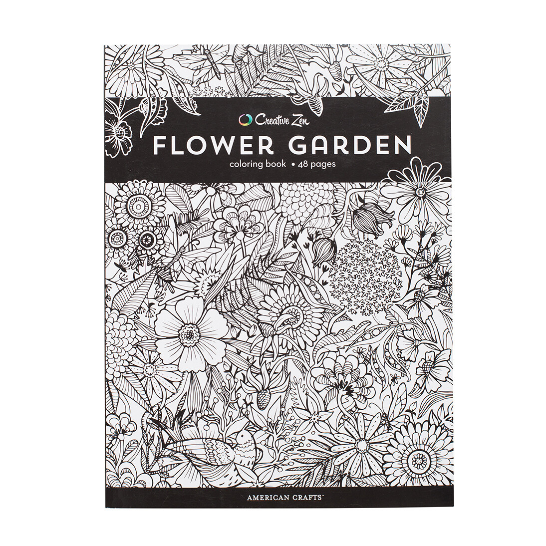 Creative Zen Flower Garden Coloring Book  48 pages