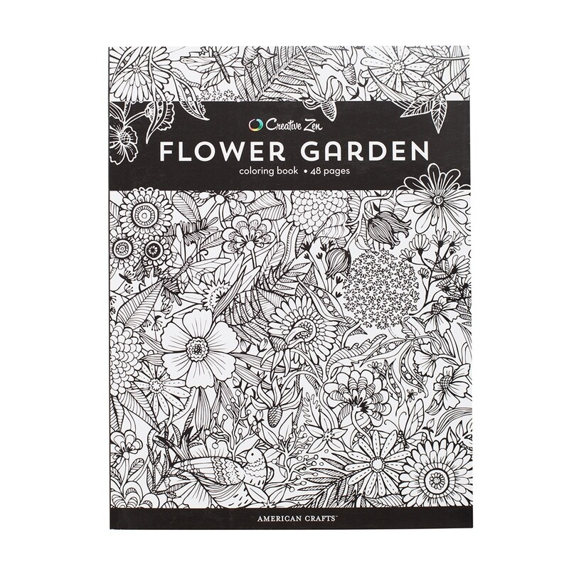 Creative Zen Flower Garden Coloring Book  48 pages