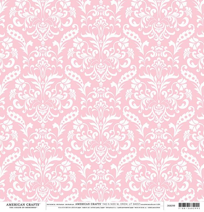 Light Pink Floral Damask Paper 12 x 12- 2 sided