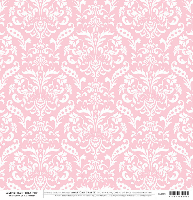 Light Pink Floral Damask Paper 12 x 12- 2 sided
