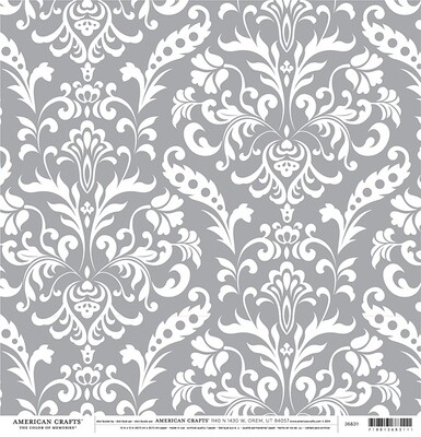 American Crafts Paper- Grey Damask 2 sided 12 x 12