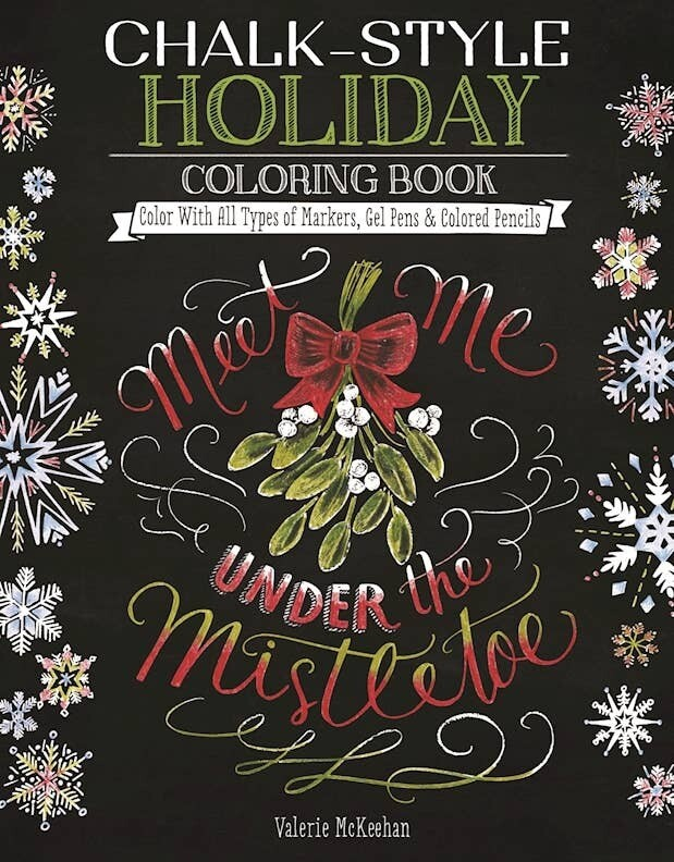 Chalk-Style Holiday Coloring Book-Meet Me Under the Mistletoe