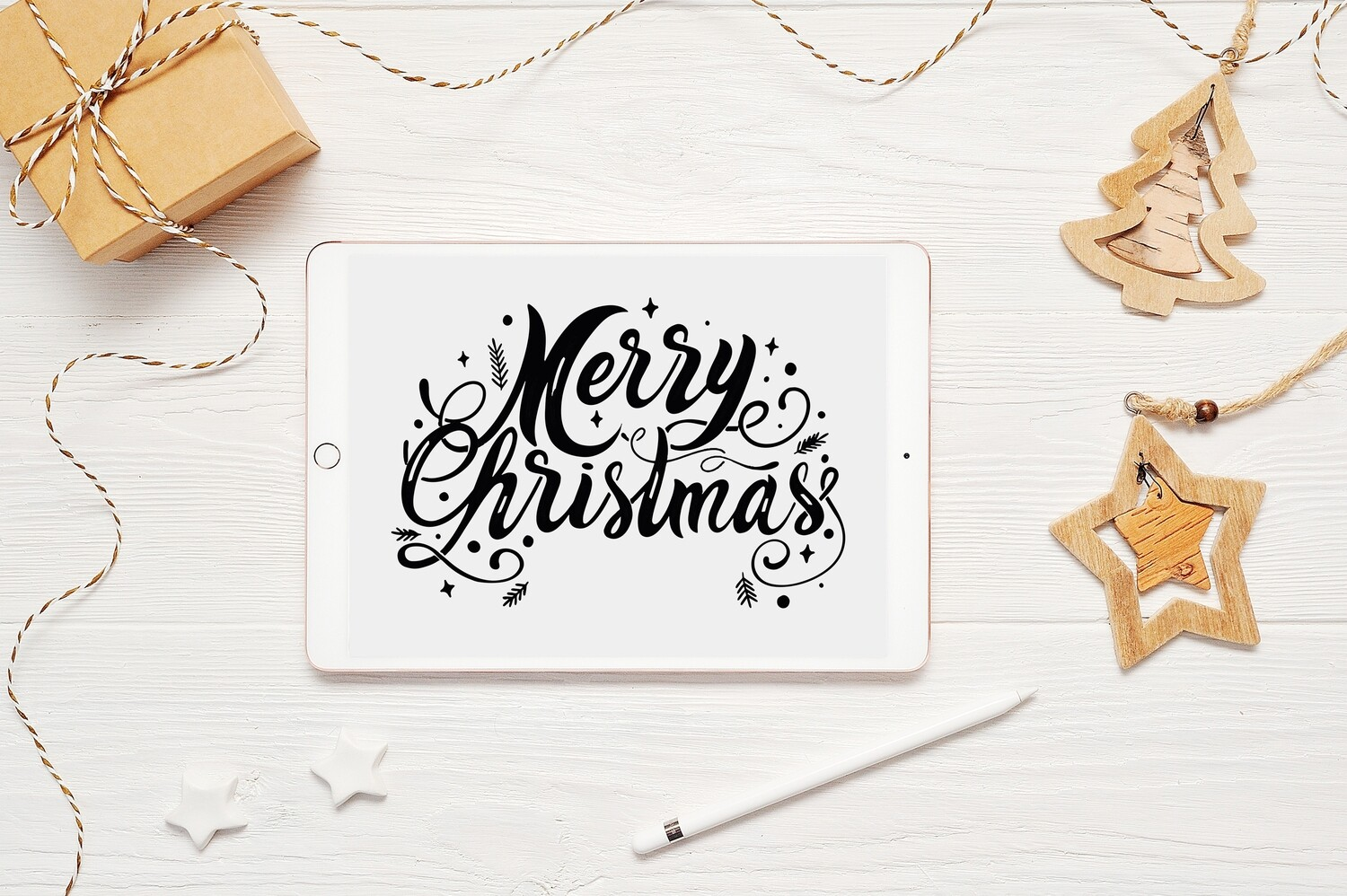 Merry Christmas Flourish Clipart Design - SVG & PNG - Personal and Commercial Use