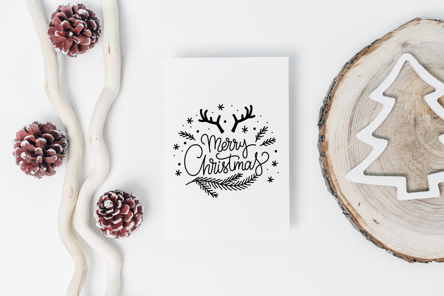 Merry Christmas Antlers Clipart Design - SVG & PNG - Personal and Commercial Use