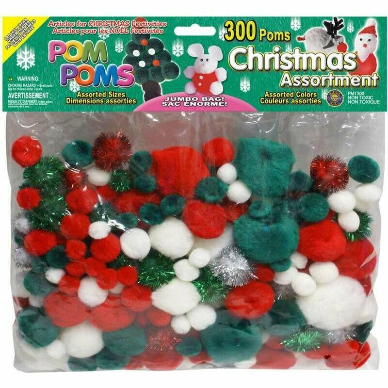 Christmas Pom Poms Assorted Sizes Jumbo Bag