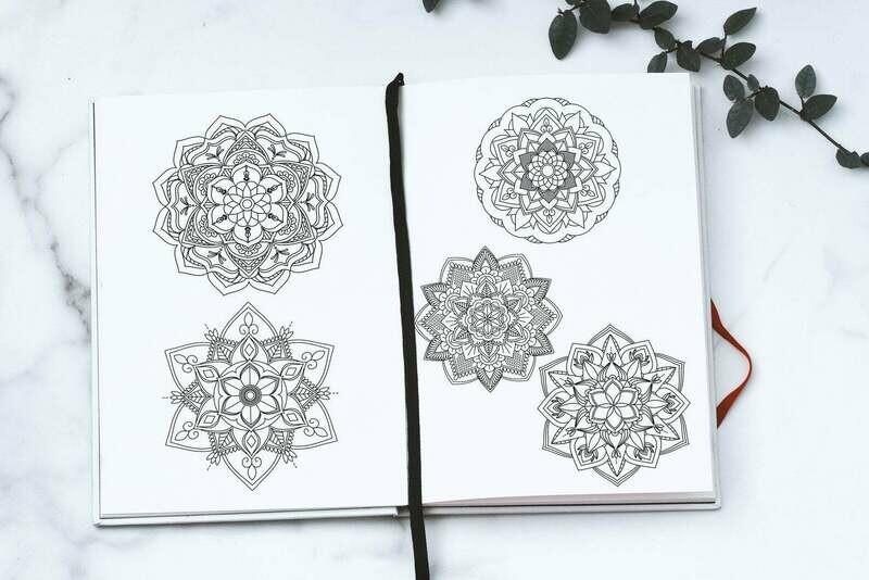 5 Mandala Clip Art & Coloring page Bundle - Digital download