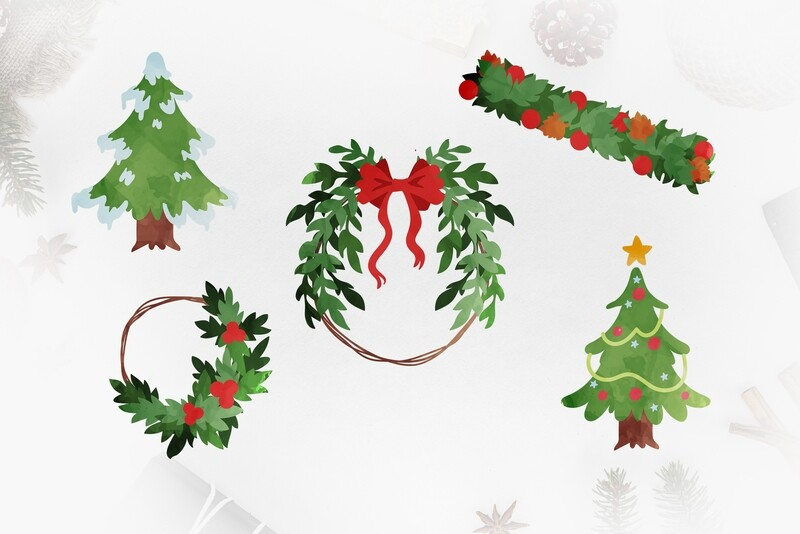 5 Christmas Trees & Wreaths - PNG - Personal and Commercial Use