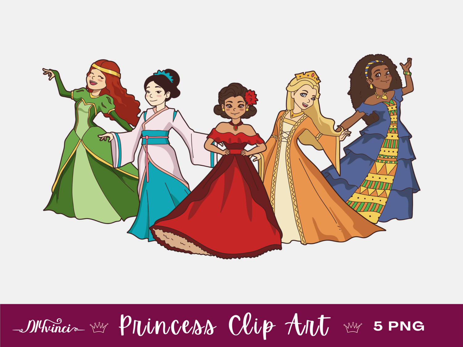 5 Princess Clip Art - PNG - Personal & Commercial Use