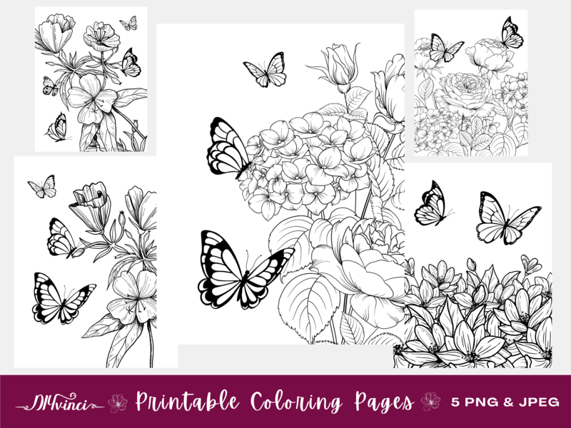 5 Butterfly and Flower Printable Coloring Pages - JPEG & PNG - Personal and Commercial Use