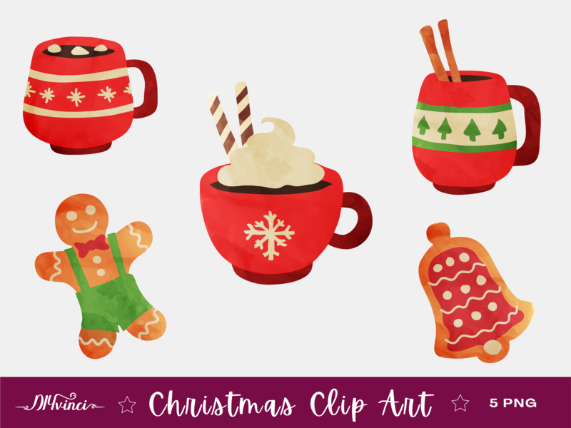 Christmas Clipart Hot Chocolate & Cookies - PNG - Personal and Commercial Use