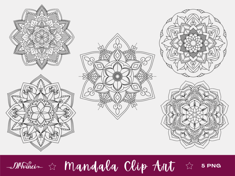5 Mandala Clip Art & Coloring page Bundle - Digital download