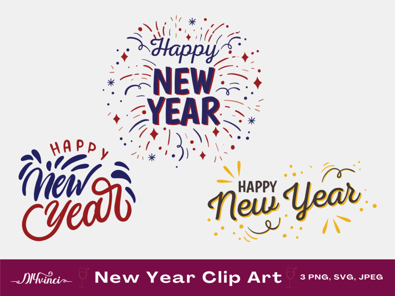 3 Happy New Year Graphics - SVG, PNG, JPEG - Personal & Commercial Use