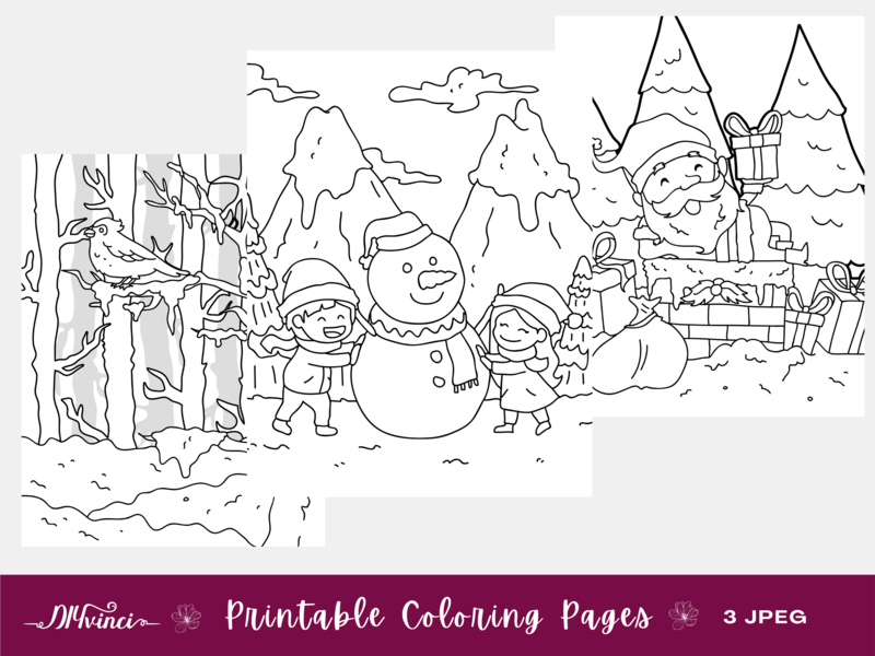 Three Printable Christmas Coloring Pages - JPEG - Personal & Commercial Use
