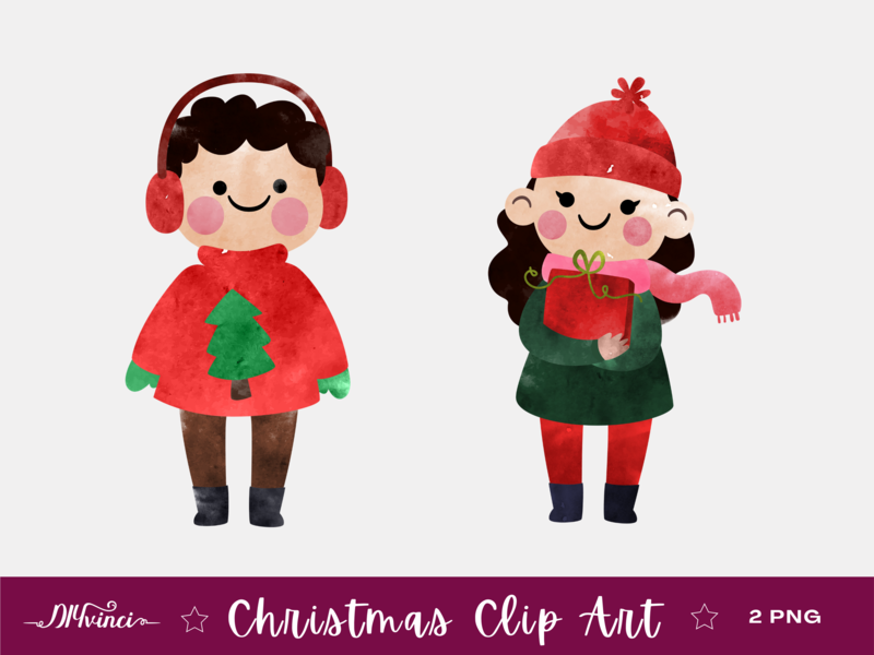 Christmas Clipart Little Boy & Girl - PNG - Personal and Commercial Use