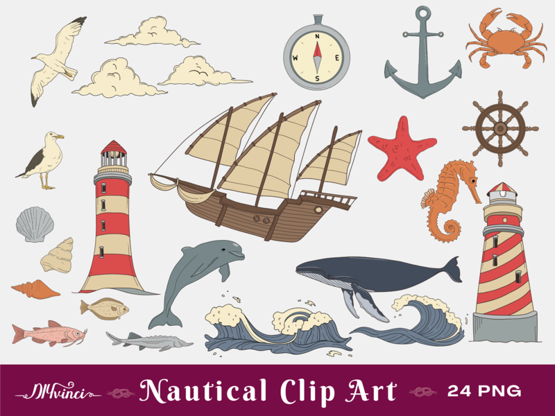 Nautical Clip Art - 24 PNG - Personal & Commercial Use
