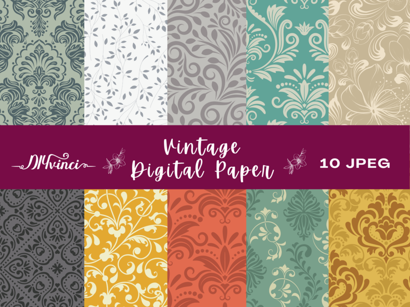 10 Seamless Vintage Digital Paper Patterns - JPEG - Personal & Commercial Use