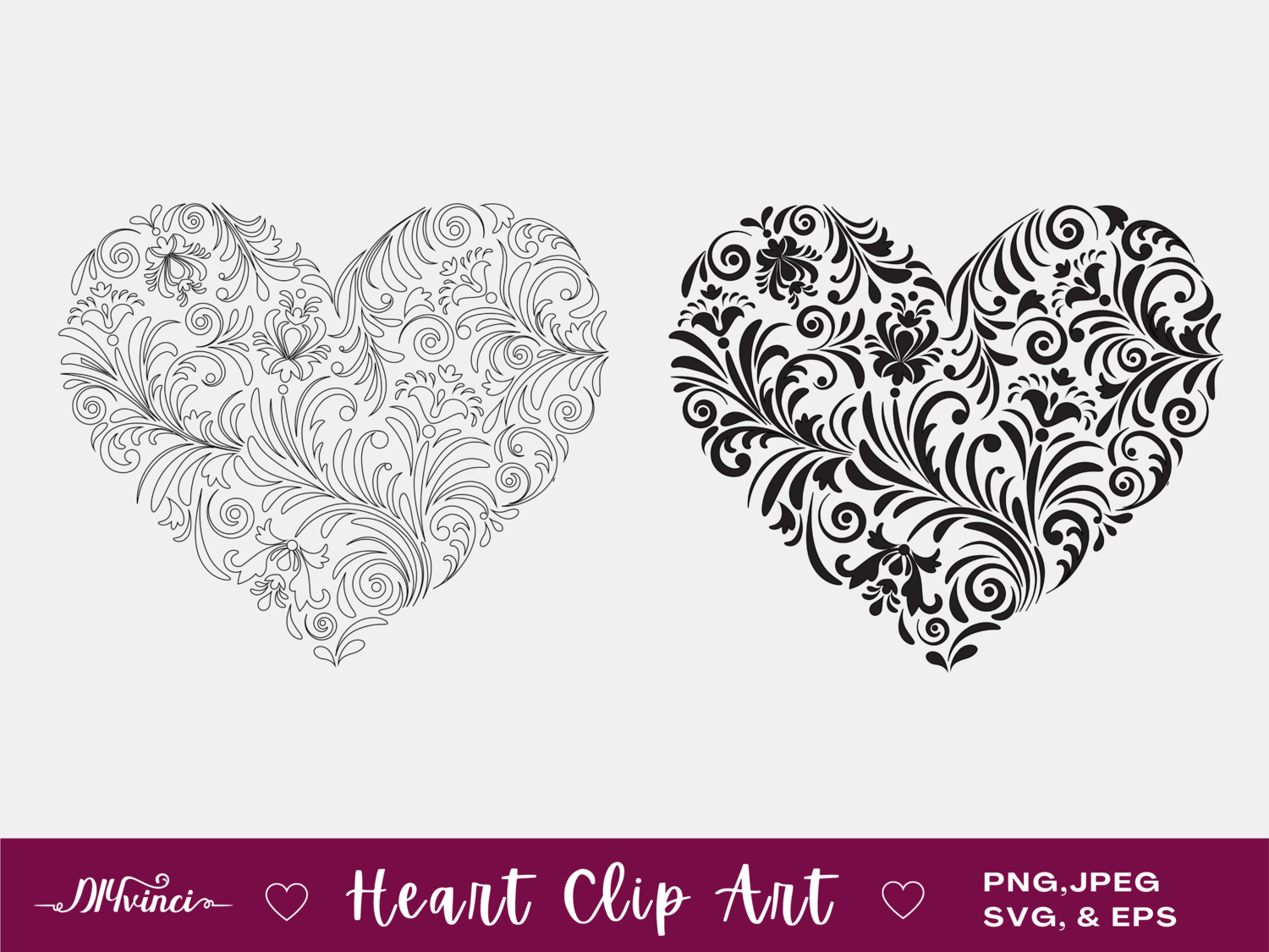 Heart Clip Art - jpeg, PNG, SVG, EPS - Personal & Commercial Use