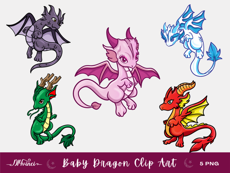 5 Baby Dragon Clip Art - PNG - Personal & Commercial Use