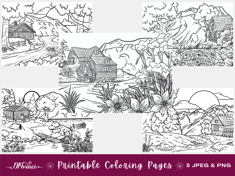 5 Landscape Printable Coloring Pages - JPEG & PNG - Personal and Commercial Use