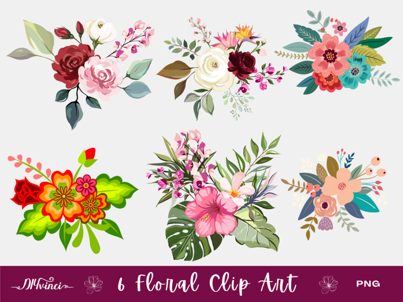 6 Floral Clip Art - PNG - Personal & Commercial Use