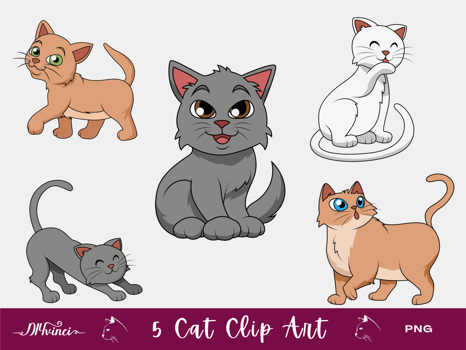 5 Cute Cat Clip Art - PNG - Personal & Commercial Use