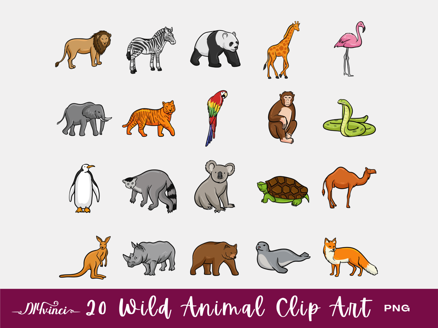 20 Wild Animal Clip Art - PNG - Personal & Commercial Use