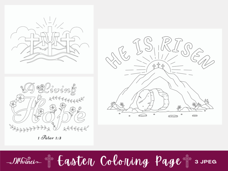 3 Printable Easter Coloring Pages - JPEG - Personal & Commercial Use