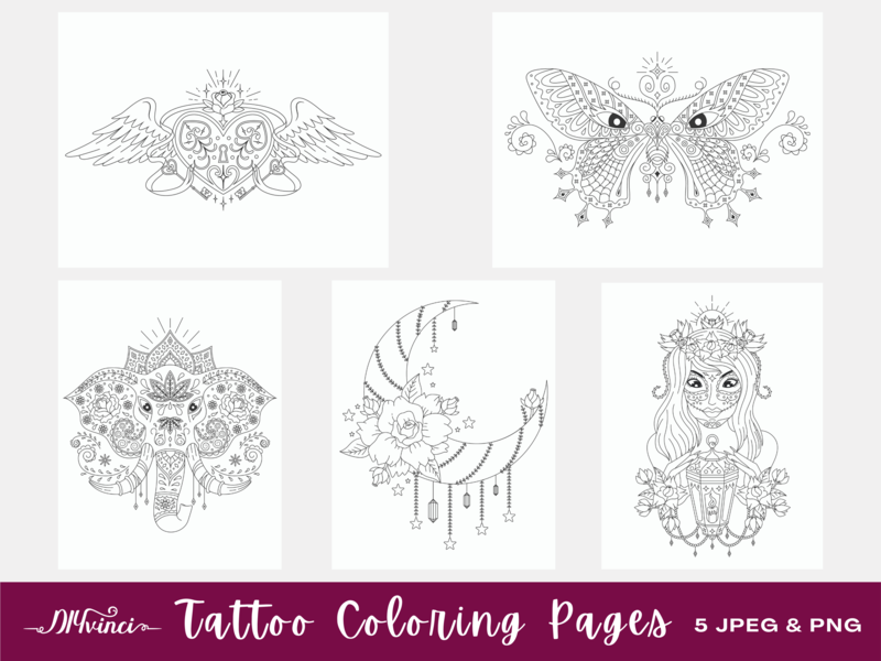 5 Tattoo Printable Coloring Pages - JPEG & PNG - Personal and Commercial Use