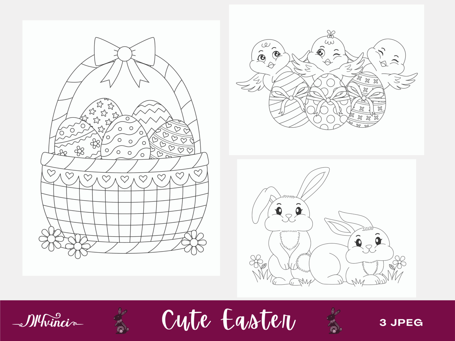 3 Printable Cute Easter Coloring Pages - JPEG - Personal & Commercial Use