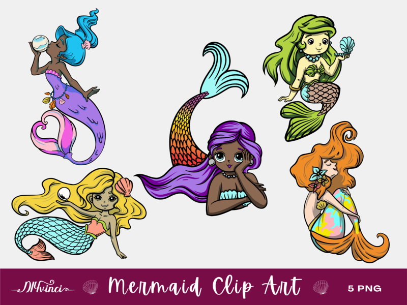 5 Mermaid Clip Art - PNG - Personal & Commercial Use