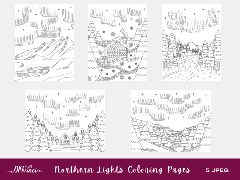 5 Northern Lights Printable Coloring Pages - JPEG - Personal and Commercial Use
