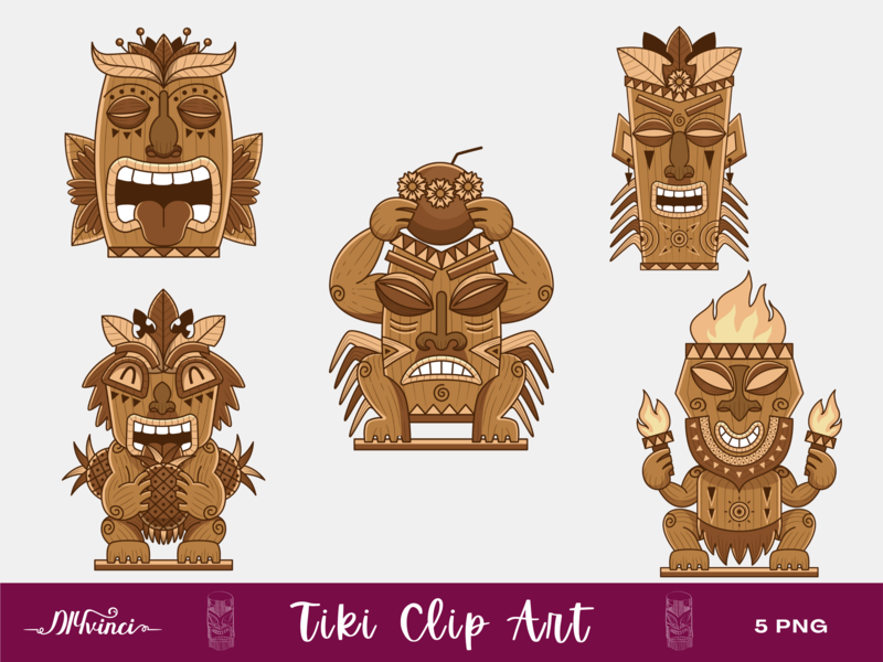 5 Tiki Clip Art - PNG - Personal & Commercial Use