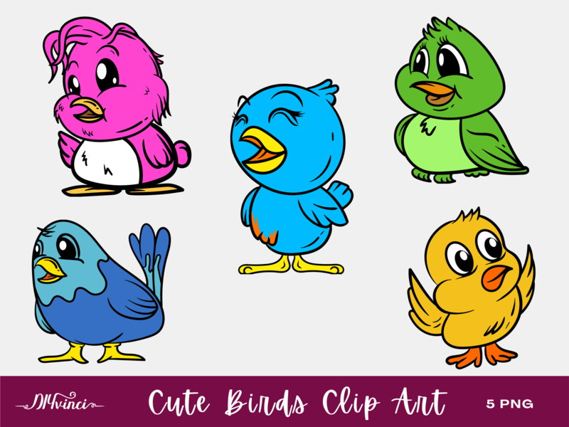 5 Cute Birds Clip Art - PNG - Personal & Commercial Use