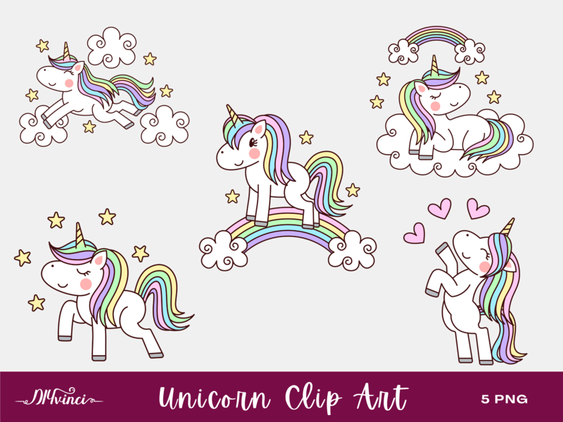 5 Unicorn Clip Art - PNG - Personal & Commercial Use