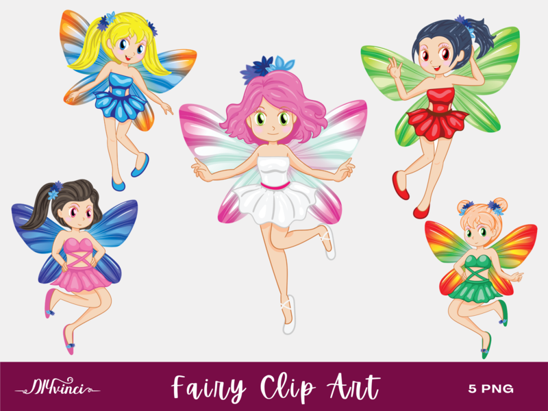 5 Fairy Clip Art - PNG - Personal & Commercial Use